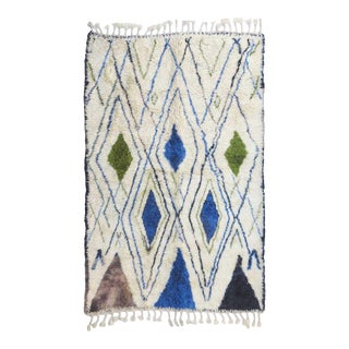 Marmoucha Blue and Olive Green Moroccan Rug For Sale