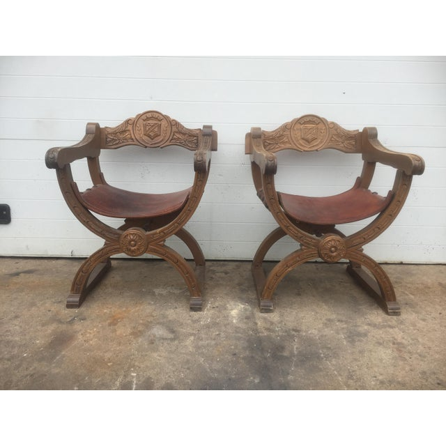 Vintage Spanish Leather & Wood Chairs - A Pair For Sale - Image 4 of 9
