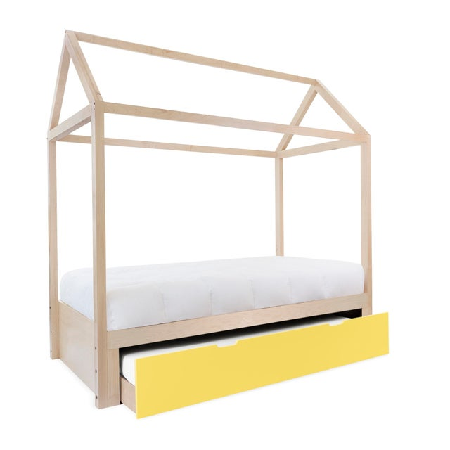 Nico & Yeye Domo Zen Twin Trundle Canopy Bed in Maple With Yellow Finish For Sale - Image 4 of 4