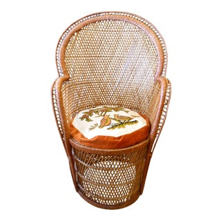 Vintage Wicker Peacock Chair with Crewel Work Seat Cushion
