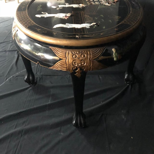 Chinese Chinese Black Ebony Lacquer Wood and Mother of Pearl Coffee Table For Sale - Image 3 of 13