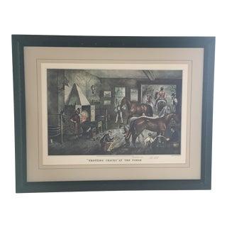 "Framed Currier & Ives ""Trotting Cracks at the Forge"" Horse Lithograph, Framed For Sale"