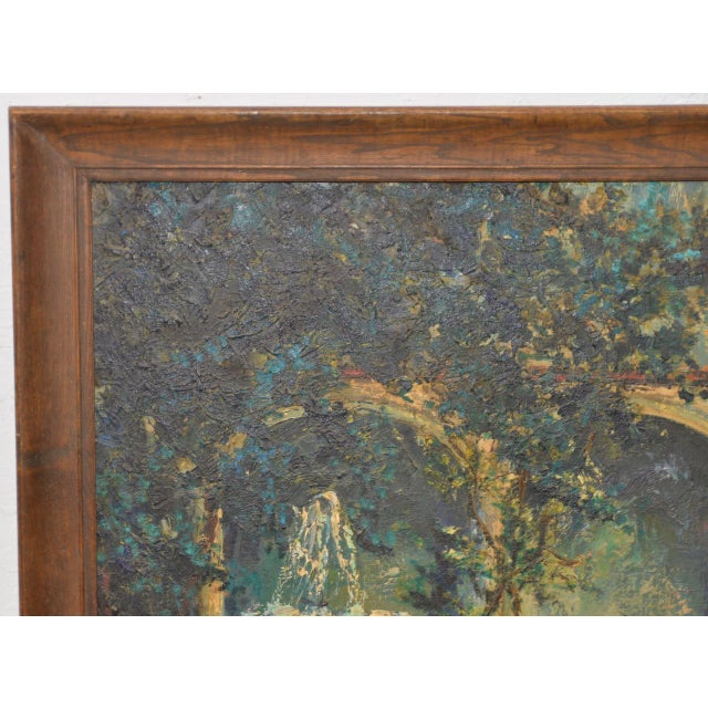 Mid Century Illuminated Fountain at Dusk Oil Painting by Ione Smith C.1967 For Sale - Image 4 of 9
