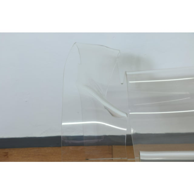 Vintage Pair of Lucite Ribbon Style Lounge Chairs For Sale - Image 9 of 13