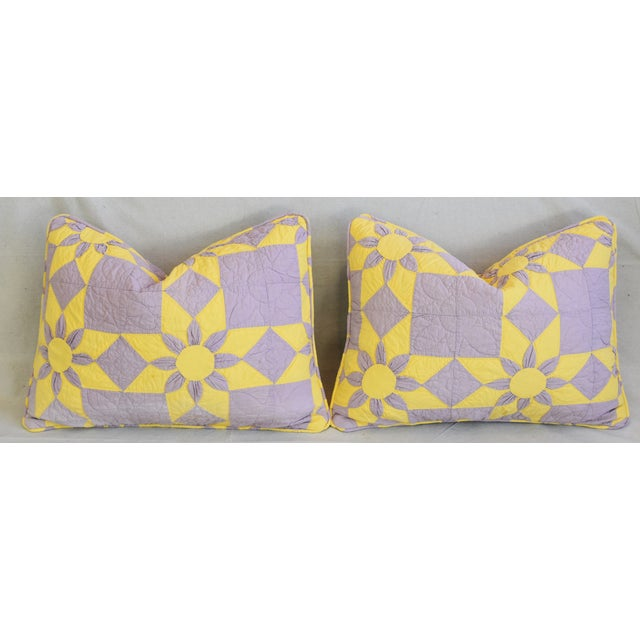 """Yellow Boho Chic Farmhouse Americana Patchwork Feather/Down Pillows 24"""" X 18"""" - Pair For Sale - Image 8 of 13"""