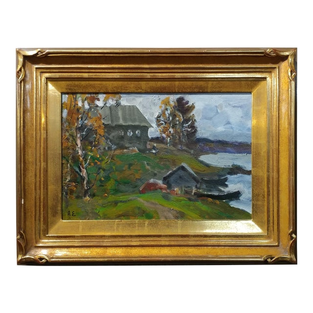 """Alex Eremin """"Autumn Day at the Marina""""- Landscape Oil Painting For Sale"""