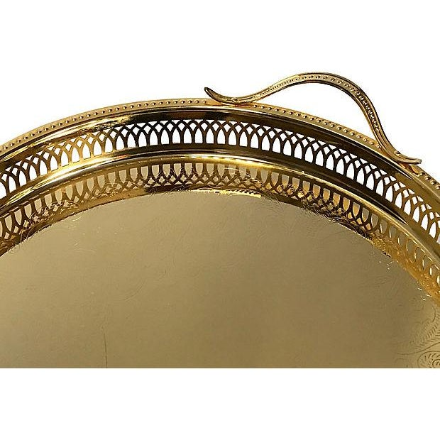 1980s 14K Gold-Plated Pierced Serving Tray For Sale - Image 4 of 6