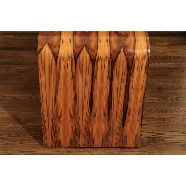 Magnificent Restored Waterfall End Tables in Bookmatched Teak, Circa 1975 For Sale - Image 9 of 13