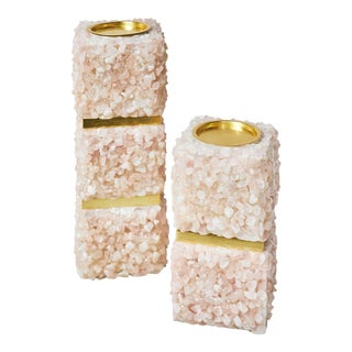 Barrington Pink Candle Holders - a Pair For Sale