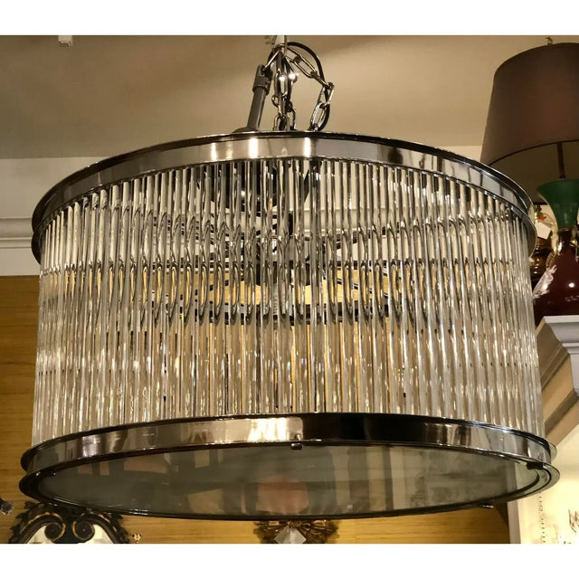 French Art Deco Machine Age Glass Rod Light Fixture Chandelier For Sale - Image 4 of 5