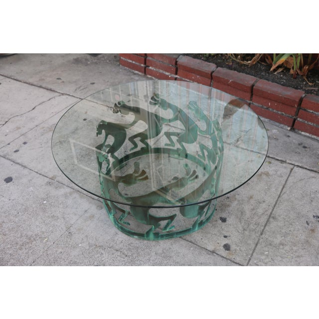 Vintage Beautiful Low Bronze Coffee Table For Sale - Image 10 of 12