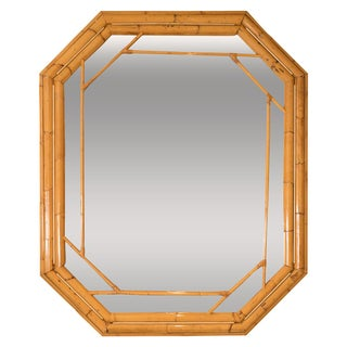 Octagonal Bamboo Surround Mirror For Sale