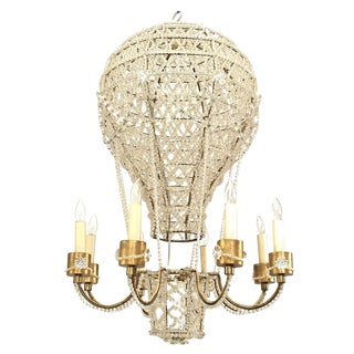 French 1930s Crystal Hot Air Balloon Chandelier Attributed to Baguès For Sale