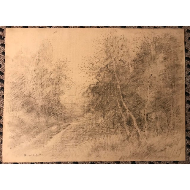 Eliot Clark Bucolic Landscape Drawing For Sale - Image 4 of 4