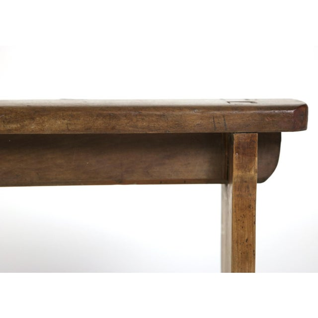1880s English Narrow Fruitwood Bench For Sale - Image 12 of 13