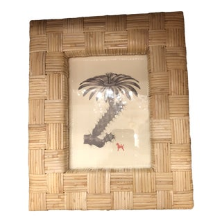 Pigeon and Poodle Grasse Natural Cane Rattan Basket Weave Picture Frame For Sale