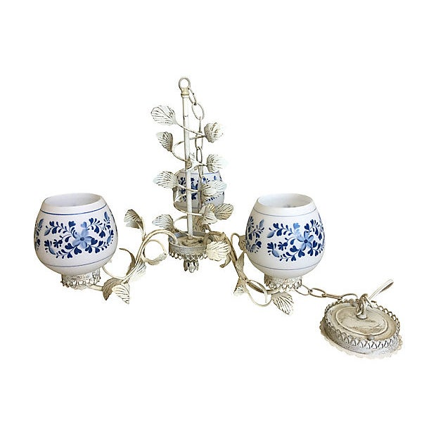 Metal Mid Century Floral Chandelier For Sale - Image 7 of 9