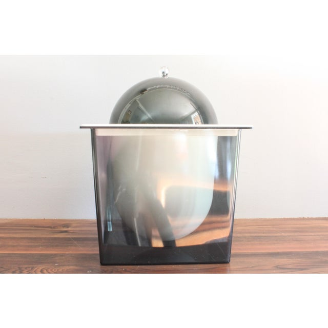 Selected for your consideration is this minimalistic mid century modern ice bucket in a smoked plexiglass cube. The...