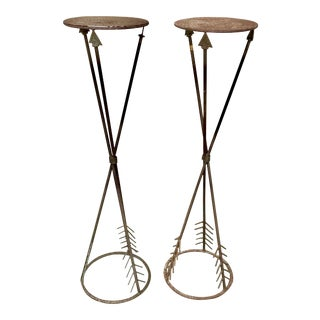 1970s Boho Chic Wrought Iron Arrow Plant Stands - a Pair