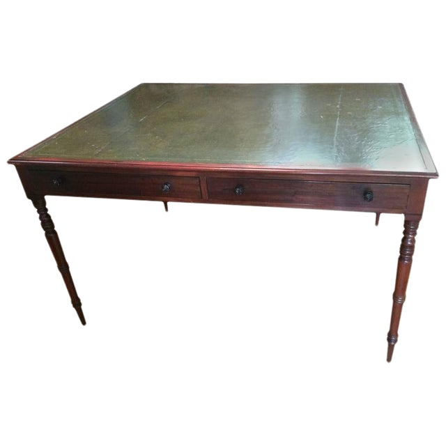 Traditional Mahogany & Tooled Leather Partner's Desk - Image 1 of 7