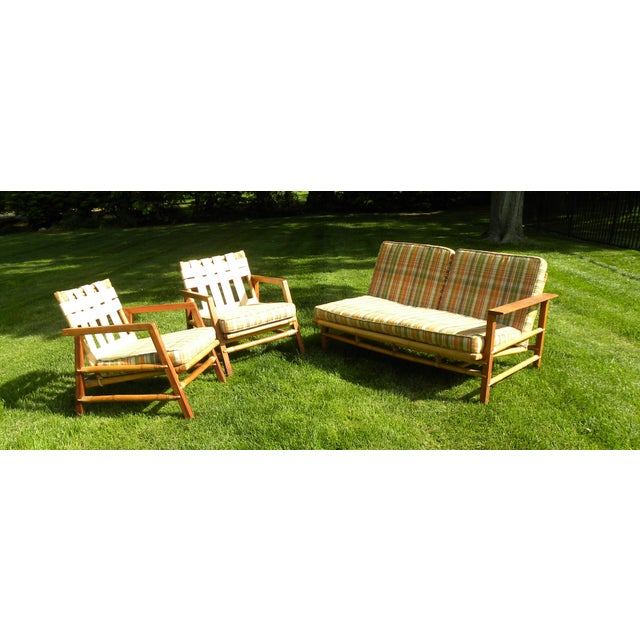 Ficks Reed Ficks Reed Vintage Day Bed & Leather Back Chairs For Sale - Image 4 of 11