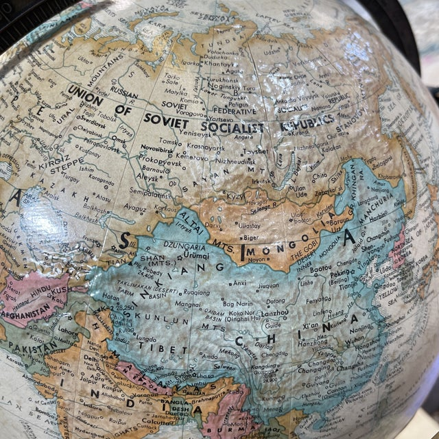 Replogle Globe in Brass Stand Paul McCobb For Sale - Image 9 of 10