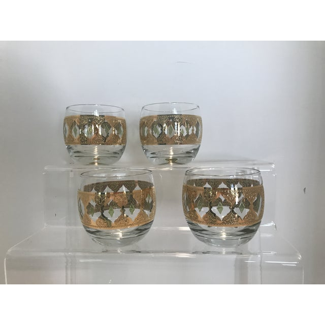 Metal 1950s Culver Valencia Green and 22k Gold Roly Poly Cocktail Glasses - Set of 4 For Sale - Image 7 of 10