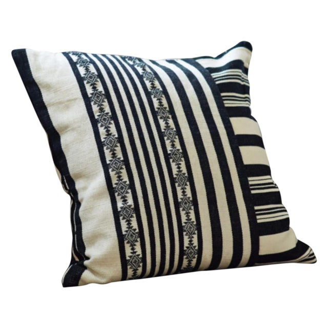 Black & White Striped Square Pillow Covers - Pair - Image 1 of 4