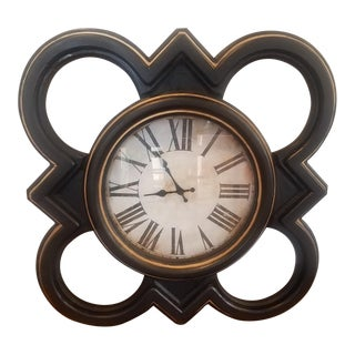 Vintage Black Wall Clock With Gold Trim For Sale