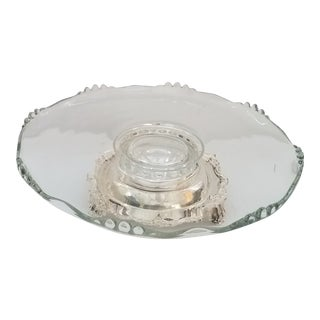 "1940s ""Crown Silver"" Glass and Silver Plate Revolving Lazy Susan For Sale"