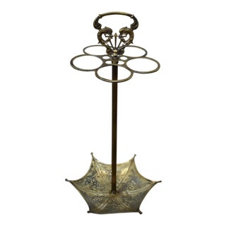 1940s Vintage Brass Umbrella Stand For Sale