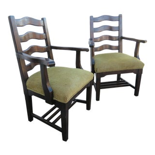 Late 20th Century Country French Ladderback Arm Chairs - a Pair For Sale
