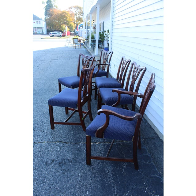 Blue Vintage Mid Century Blue Dining Chairs- Set of 6 For Sale - Image 8 of 11