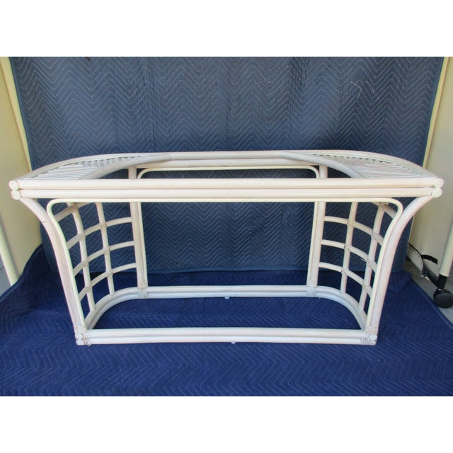 Glass Top Rattan Demi-Lune Console Table For Sale - Image 4 of 10