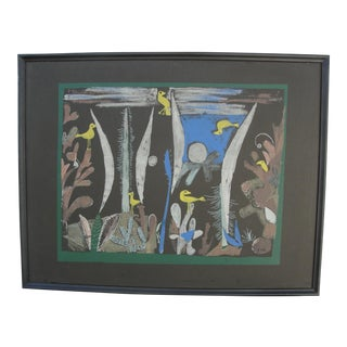 Vintage Surrealist Abstract Lithograph on Board For Sale