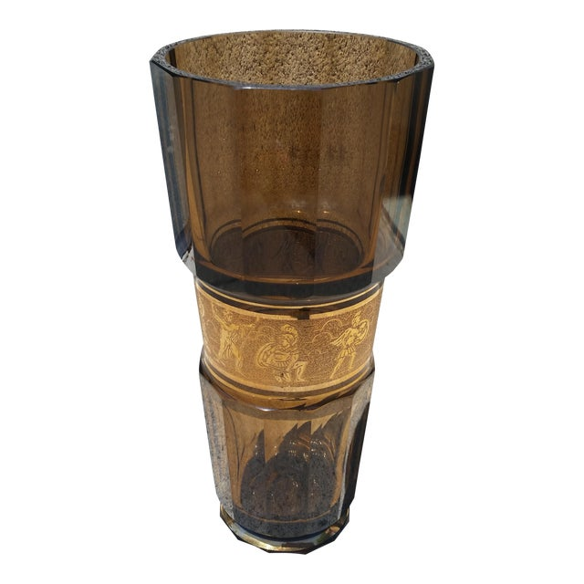 Moser Glass Faceted Crystal Art Deco Vase For Sale