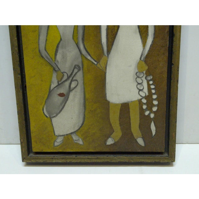 "Original Framed ""Man & Wife"" Painting on Canvas For Sale - Image 4 of 7"