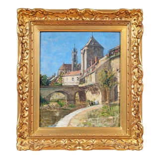"""19th Century """"Moret-Sur-Loing"""" French Impressionist School Oil Painting on Wood Panel For Sale"""