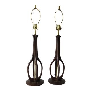 Mid 20th Century Mid-Century Modern Brass & Walnut Lamps - a Pair For Sale