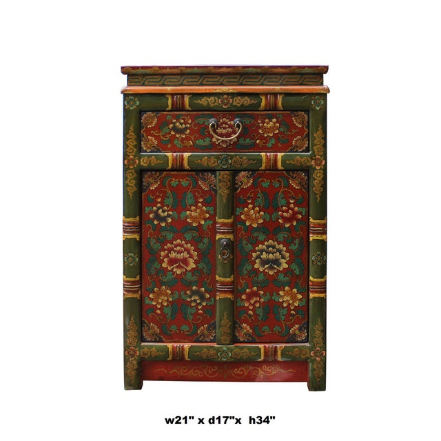 Asian Tibetan Oriental GreenYellow Orange Floral End Table Nightstand For Sale - Image 3 of 8