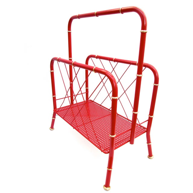 Vintage Red & Gold Faux Bamboo Magazine Rack For Sale In Los Angeles - Image 6 of 6