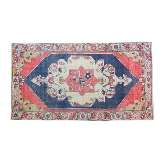 "House of Séance - 1950s Vintage Anatolian Floral Medallion Oushak Eregli Wool Hand-Knotted Rug - 4'3.5"" X 7'10"" For Sale - Image 11 of 11"