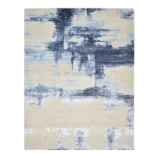 Bajirao, Contemporary Abstract Hand-Knotted Area Rug, Parchment, 10 X 14 For Sale