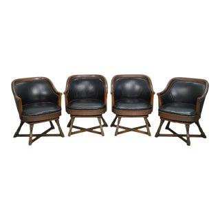 Romweber Viking Oak Set of 4 Swivel Club Chairs