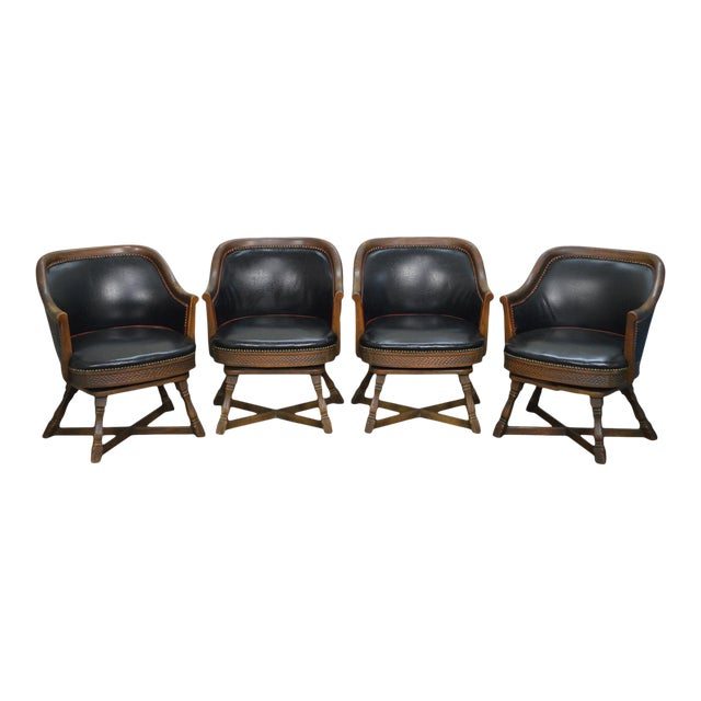 Romweber Viking Oak Set of 4 Swivel Club Chairs For Sale