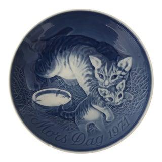 1971 Bing & Grondahl Mother's Day Plate, Mors Dag Mama Cat & Kitten For Sale