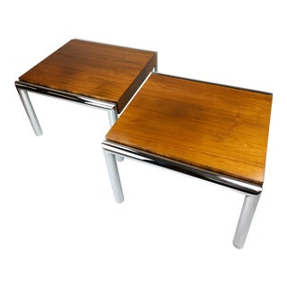 1970s Italian Chrome and Walnut Side Accent Cocktail Tables Aft Milo Baughman - a Pair For Sale