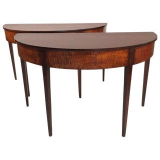 Federal Period Tiger Maple Demilune Tables - a Pair For Sale