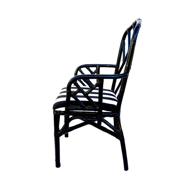 Vintage Bamboo Chippendale Arm Chairs - A Pair For Sale - Image 11 of 12