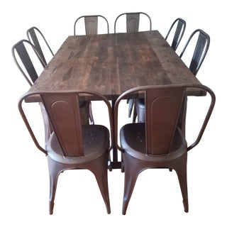 Salvaged Boatwood Rectangular Dining Table & Remy Side Chairs For Sale